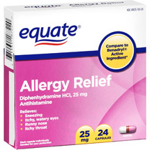 Equate Allergy Medication 25Mg Capsules Antihistamine