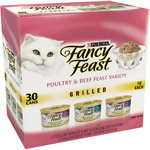 Purina Fancy Feast Grilled Poultry & Beef Feast Variety Cat Food 30-3 oz. Cans