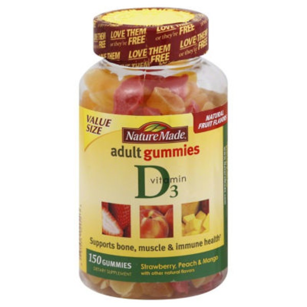 Nature Made Adult Gummies Vitamin D3 Strawberry, Peach & Mango - 150 CT