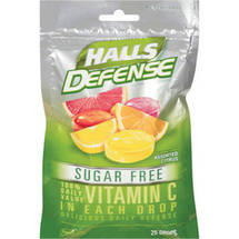 Halls Defense W/100% Daily Value Vitamin C Sugar Free Assorted Citrus Supplement Drops