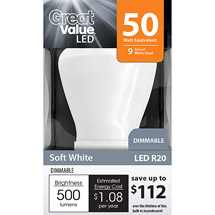 Great Value LED 9W Soft White R20 Dimmable Light Bulb