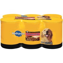 Pedigree Canned Dog Food Meaty Ground Dinner with Chopped Beef 13.2oz 6 count