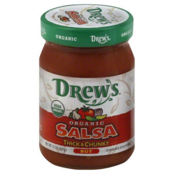 Drews Salsa, Thick & Chunky, Hot, Organic, Jar