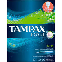 Tampax Pearl Plastic Super Absorbency Unscented Tampons