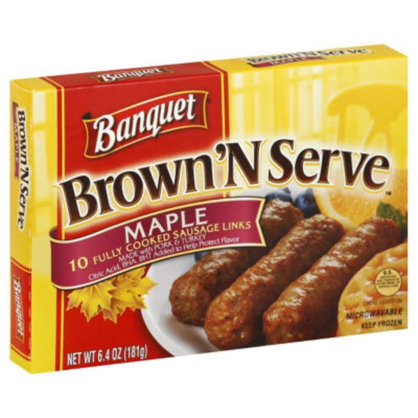 Banquet Brown'N Serve Sausage Links Maple - 10 CT