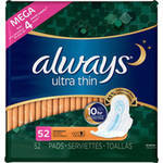 Always Ultra-Thin Unscented Overnight Pads with Wings