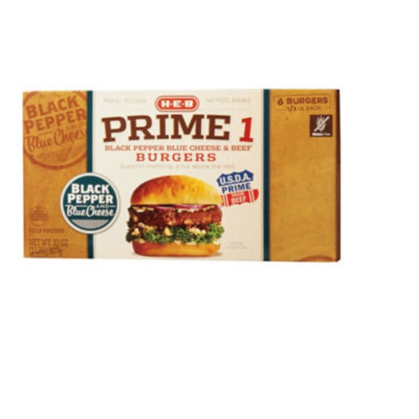 H-E-B Prime 1 Black Pepper Blue Cheese Burgers