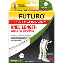 Futuro AntiEmbolism StockingsKnee LengthClosed ToeLarge RegularWhite
