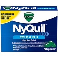 Vicks NyQuil Cold & Flu Nighttime Relief LiquiCaps 24 Count Respiratory Care