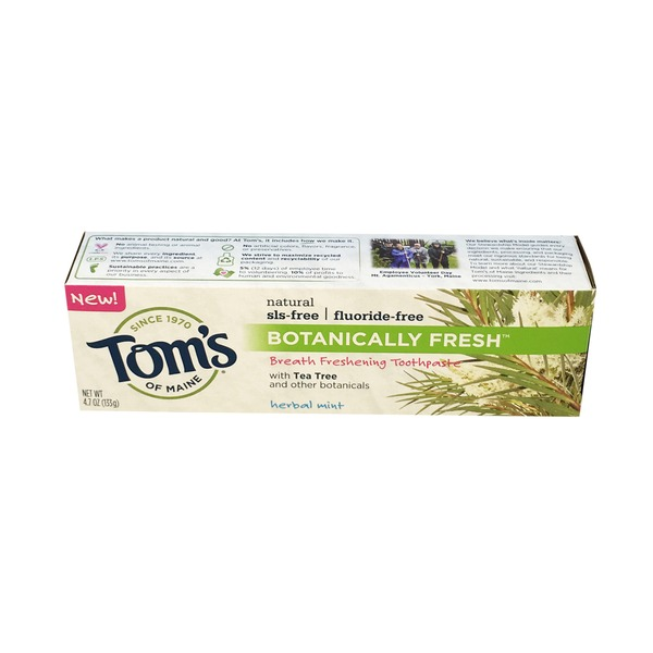Tom's of Maine Fluoride Free Botanically Fresh Toothpaste Herbal Mint