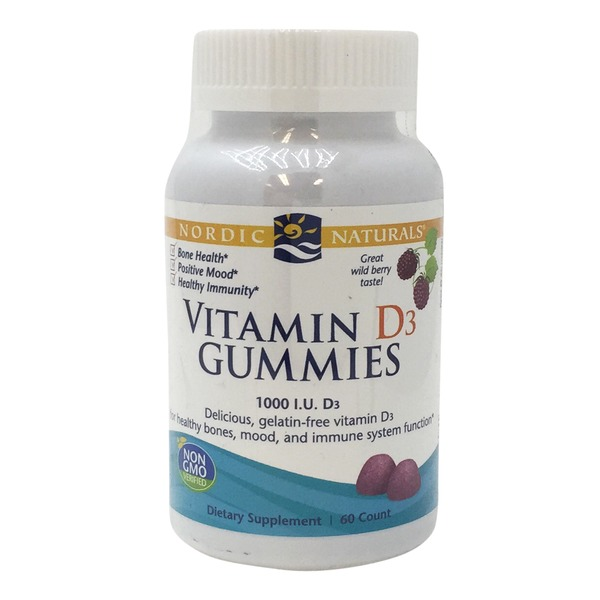 Nordic Naturals Vitamin D3 Gummies, 1000 IU, Great Wild Berry Taste!