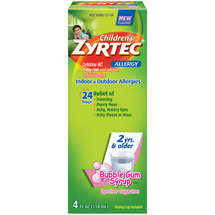 Children's Zyrtec Sugarfree Dyefree Bubblegum Syrup Allergy 24 Hour