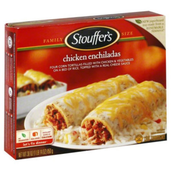 Stouffer's Family Size Shredded white meat chicken & vegetables wrapped in hand-rolled corn tortillas over rice & topped with real cheese & spicy cream sauce Chicken Enchiladas