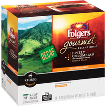 Folgers Gourmet Selections K-Cups Decaf Lively Colombian Medium Roast Coffee