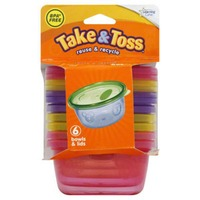The First Years Take & Toss Bowls with Lids 9+m - 6 CT