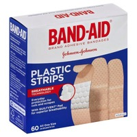 Band Aid® Brand Adhesive Bandages Plastic Strips 60 ct All One Size Value