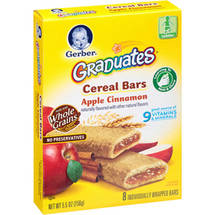 Gerber Graduates Fruit & Cereal Bars Apple Cinnamon 5.5  Oz