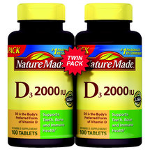 Nature Made Vitamin D3 2000 IU Supplement Tablets (Pack of