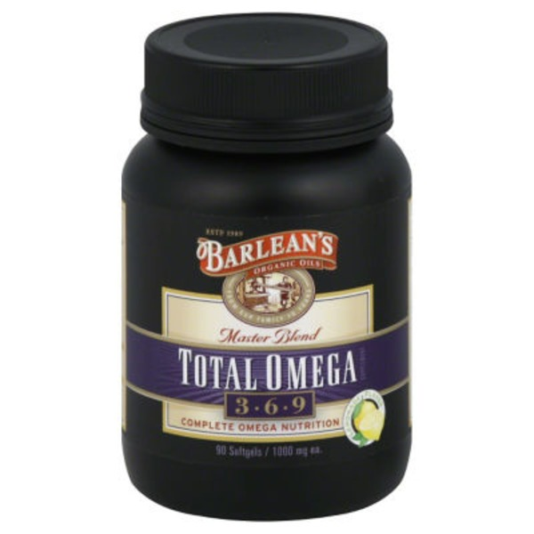 Barlean's Total Omega Supplement, 3-6-9, 1000 mg, Softgels, Lemonade Flavor
