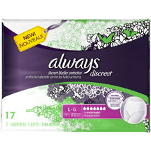 Always Discreet Incontinence Underwear Maximum Absorbency Large