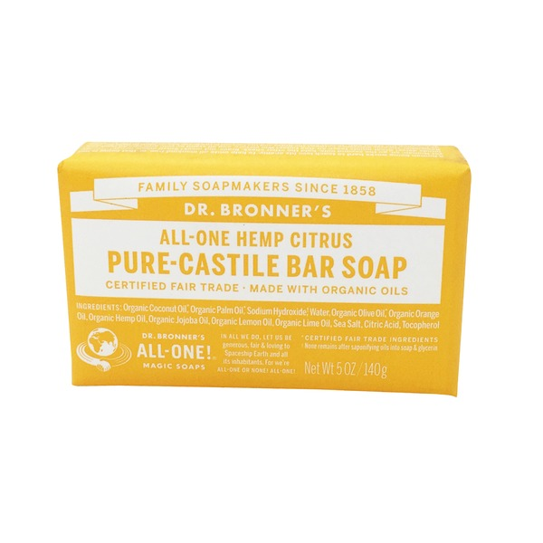 Dr. Bronner's All-One Hemp Citrus Castile Bar Soap