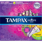 Tampax Radiant Plastic Unscented Duo-Pack Tampons
