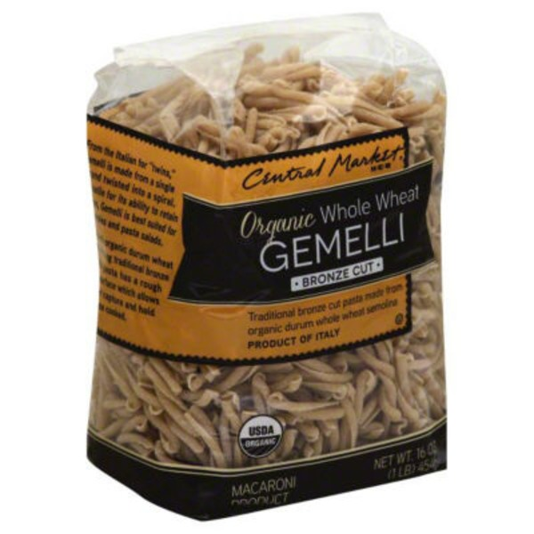 Central Market Organic Whole Wheat Gemelli Bronze Cut Pasta