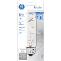 GE crystal clear 25 watt T10 1-pack