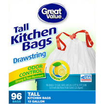 Great Value Drawstring Odor Control Lemon Scent Tall Kitchen Trash Bags