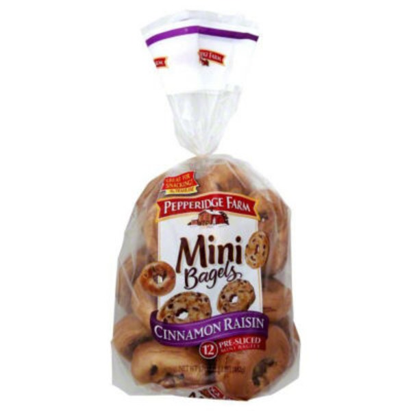 Pepperidge Farm Fresh Bakery Cinnamon Raisin Pre-Sliced Mini Bagels