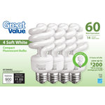 Great Value Light Bulb 14W (60W Equivalent) Spiral (CFL) Soft White
