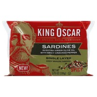 King Oscar Wild Caught in Extra Virgin Olive Oil with Spicy Cracked Pepper Sardines