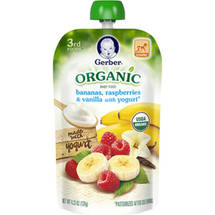 Gerber 3rd Foods Organic Bananas Raspberries & Vanilla with Yogurt Baby Food