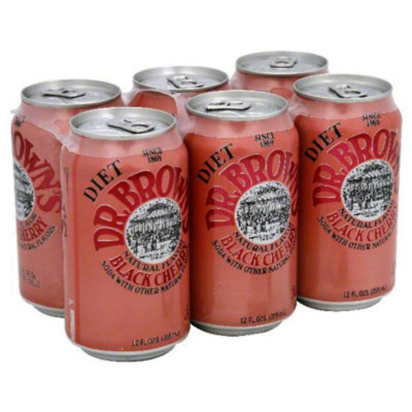 Dr. Brown's Diet Black Cherry Soda - 6 PK