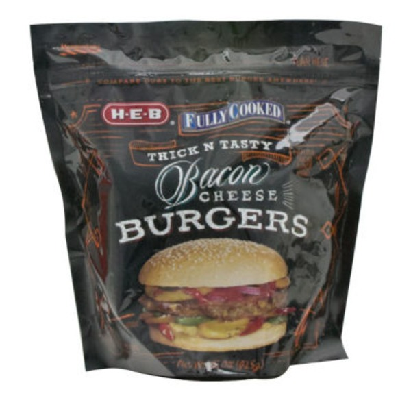 H-E-B Fully Cooked Bacon Cheese Burgers 4 Ct