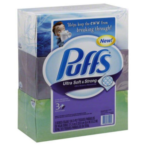 Puffs Ultra Soft & Strong Puffs Ultra Soft & Strong Facial Tissues; 3 Family Boxes; 124 Tissues per Box Personal Tissue