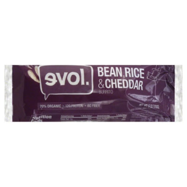 Evol Foods Bean, Rice and Cheddar Burrito