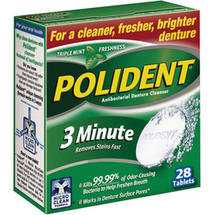 Polident Triple Mint Freshness Antibacterial 3 Minute Denture Cleanser Tablets