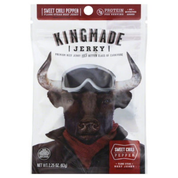 Kingmade Beef Jerky, Premium, Flank Steak, Sweet Chili Pepper