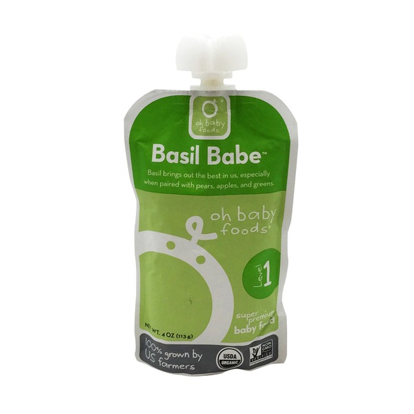 Oh Baby Foods Organic Basil Babe Level 1 Baby Food