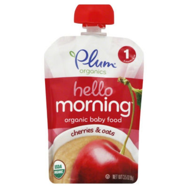 Plum Organics Hello Morning Stage 1 Cherries & Oats Baby Food