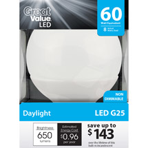 Great Value LED 8W Daylight Globe Light Bulb