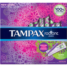 Tampax Radiant Plastic Unscented Super Absorbent Tampons