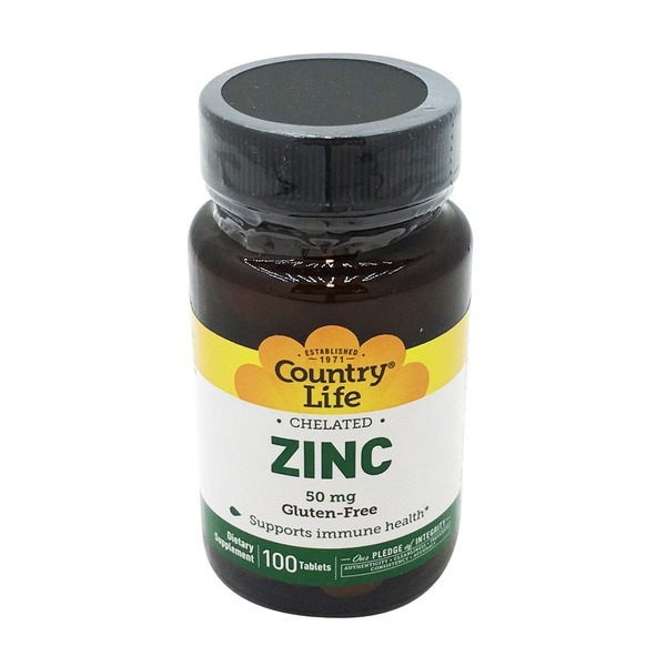 Country Life Chelated Zinc 50 Mg Gluten Free