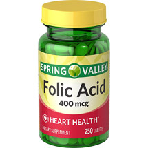 Spring Valley Natural 400 Mcg Heart Health Folic Acid Dietary Supplement