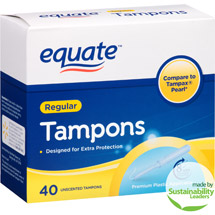 Equate Regular Absorbency Unscented Premium Plastic Tampons