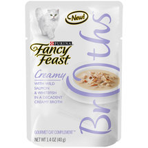 Purina Fancy Feast Broths Creamy with Wild Salmon and Whitefish Cat Food Pouch