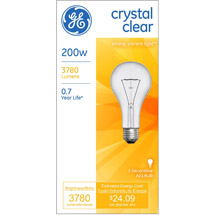 GE crystal clear 200 watt A21 1-pack