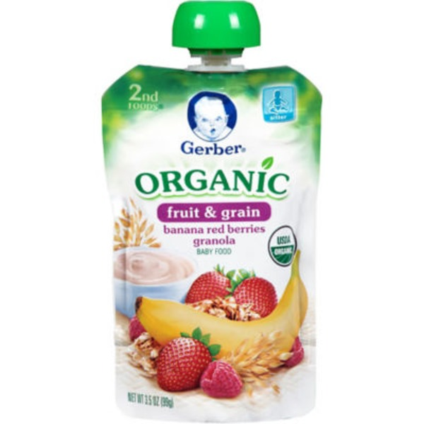Gerber Organic 2 Nd Foods Organic Bananas Red Berries & Granola Baby Food