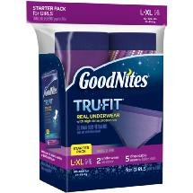 GoodNites Tru-Fit Bedwetting Underwear with Nighttime Protection Starter Pack for Girls L/XL